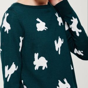Loft Bunny Rabbit Teal Size Large Pullover Sweater